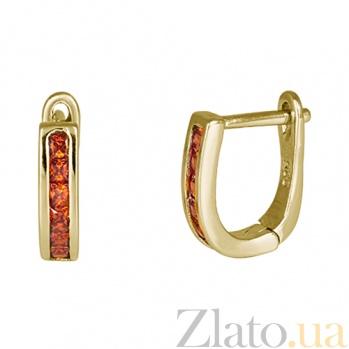 Позолоченные серебряные серьги с красными фианитами Грета SLX--С3ФГ/159