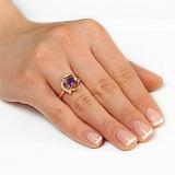 Золотое кольцо с аметистом и фианитами Орхидея