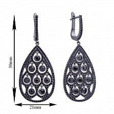 Серебряные серьги-подвески с фианитами и черным родием 000121429