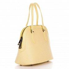 Миниатюрная кожаная сумка Genuine Leather 8613 желтого цвета на молнии, с металлическими ножками