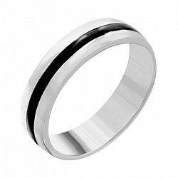 Серебряное кольцо Канада с полоской черной эмали 000039523