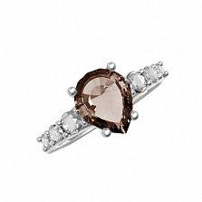 Серебряное кольцо Элиза с раухтопазом и фианитами