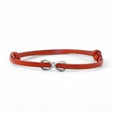 Кожаный браслет с серебром Infinity Red с чернением