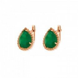 Золотые серьги Юджиния с зеленым агатом в стиле Бушерон
