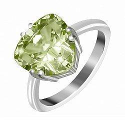 Серебряное кольцо с зеленым фианитом 000028380