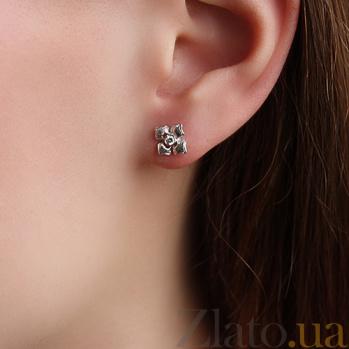 Серьги-пуссеты из белого золота Флорина с бриллиантами 000013037