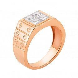 Перстень-печатка из красного золота с орнаментом в стиле Картье и фианитом 000129081