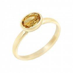 Золотое кольцо Ирен в желтом цвете с завальцованным цитрином