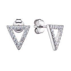 Серебряные серьги-пуссеты с цирконием 000125437