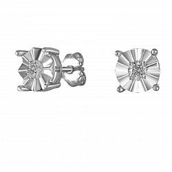 Серьги-пуссеты из белого золота Джудит с бриллиантами