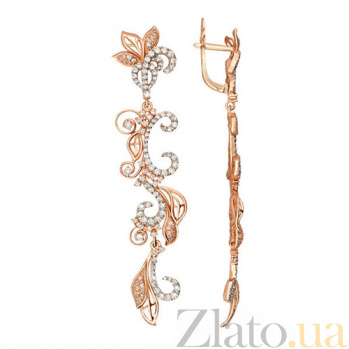 Серьги-подвески из красного золота с цирконием Весна VLT--ТТ2517