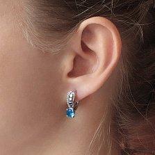Серебряные серьги Лила с голубым кварцем и цирконием