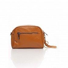 Кожаный клатч Genuine Leather 1828 темно-рыжего цвета с передним карманом и молнией