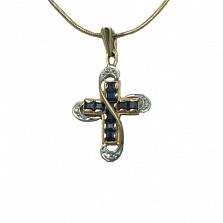 Золотой декоративный крест с бриллиантами и сапфирами Эйлат