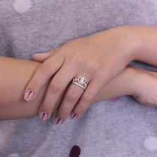Золотое кольцо-корона Влюбленная императрица с кристаллами циркония