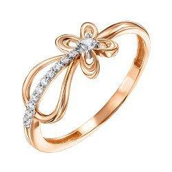 Золотое кольцо в комбинированном цвете с фианитами 000136227