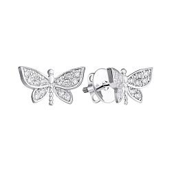 Серебряные серьги-пуссеты с белыми фианитами Бабочка