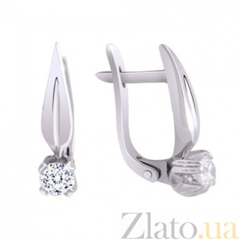 Золотые серьги с бриллиантами Акулина KBL--С2085/бел/брил
