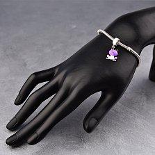 Серебряный шарм Лягушонок с фиолетовой и белой эмалью