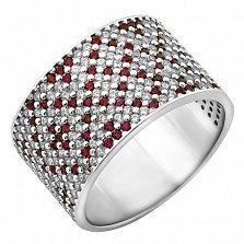 Серебряное кольцо Осенний Орнамент с фианитами