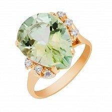 Золотое кольцо Лорена с зеленым аметистом и фианитами
