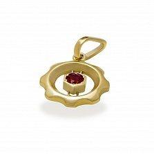 Золотой кулон Важная деталь с синтезированным рубином
