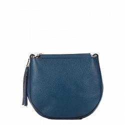 Кожаный клатч Genuine Leather 8887 темно-синего цвета с замком-молнией и плечевым ремнем