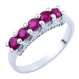 Серебряное кольцо Тришна с рубинами и фианитами