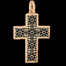 Золотой декоративный крестик Алатырь с черной эмалью и бриллиантами