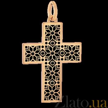 Золотой декоративный крестик Алатырь с черной эмалью и бриллиантами 000068663
