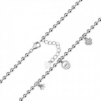 Серебряный браслет с подвесками и цирконием 000140009