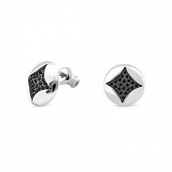 Серебряные серьги-пуссеты с черными фианитами 000150313
