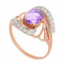 Золотое кольцо с аметистом и фианитами Вивиана