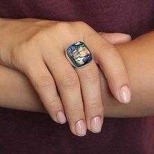 Серебряное кольцо Подводная лазурь с имитацией опала