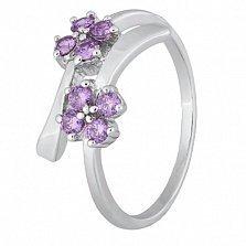 Серебряное кольцо с фиолетовыми фианитами Пора цветения