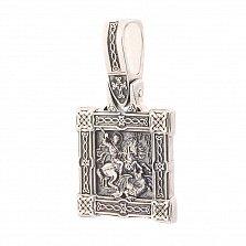 Серебряная ладанка Георгий Победоносец с чернением