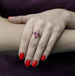 Кольцо в красном золоте Шахерезада с нанорубином и фианитами