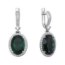 Серебряные серьги-подвески с зеленым кварцем и цирконием 000012626