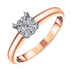 Золотое помолвочное кольцо Белоника в комбинированном цвете с бриллиантами