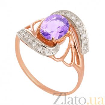 Золотое кольцо с аметистом и фианитами Вивиана VLN--112-841-4