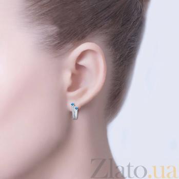 Серебряные серьги с синим цирконом Вилена AQA--72057с
