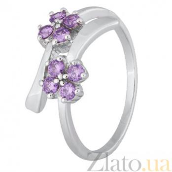 Серебряное кольцо с фиолетовыми фианитами Пора цветения 000028125