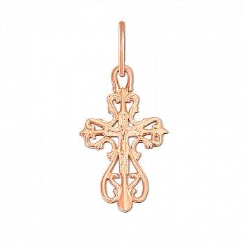 Крестик из красного золота Божественное Благословение 000056925