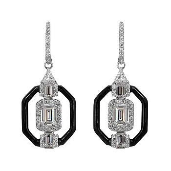 Серебряные серьги-подвески с эмалью и фианитами 000105929