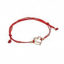 Шелковый браслет в красном золоте Сердечки с фианитами