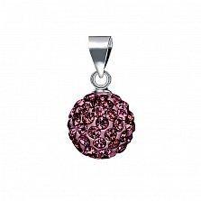 Серебряный кулон-шар Блеск с темно-малиновыми кристаллами Swarovski