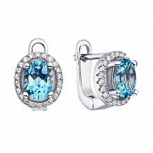 Серебряные серьги с голубыми топазами и фианитами 000133489