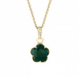 Золотой подвес Летнее чудо с зеленым агатом и бриллиантами