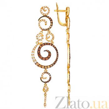 Золотые серьги с фианитами Юнона VLT--ТТТ2307