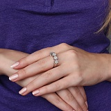 Золотое кольцо Цветочный венец в белом цвете с бриллиантами